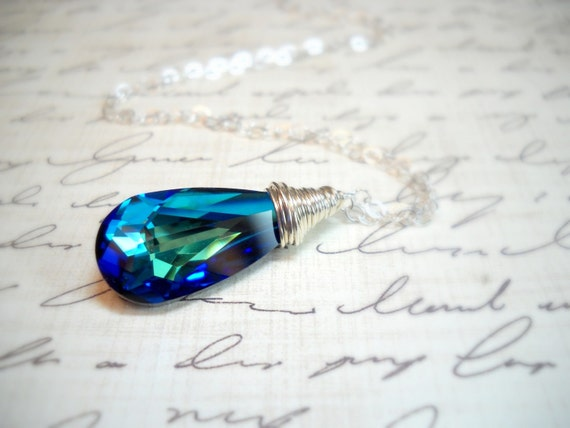 Bermuda Blue Swarovski Crystal Sterling Silver Necklace
