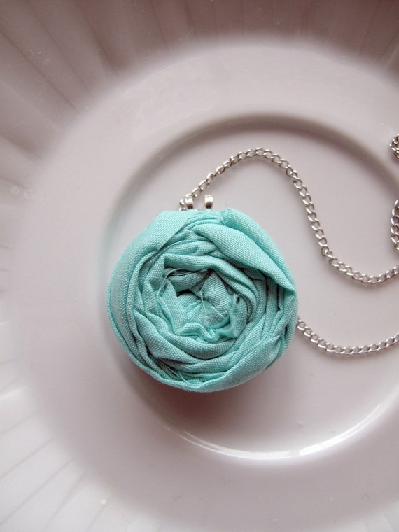 Rosette Pendant Necklace- Robin's Egg