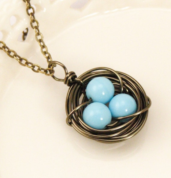 Darling Bird Nest Necklace With Robin's Eggs