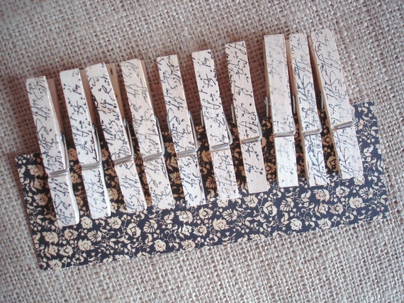 vintage script stamped clothespins