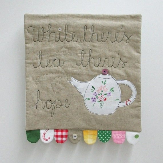 While there's tea... linen art quilt