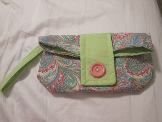 Pink Limeade Paisley Fold Over Clutch