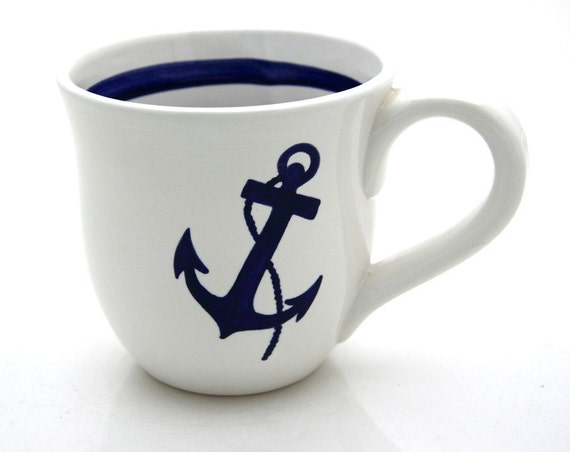 Anchor Nautical Navy Blue and White Large Mug