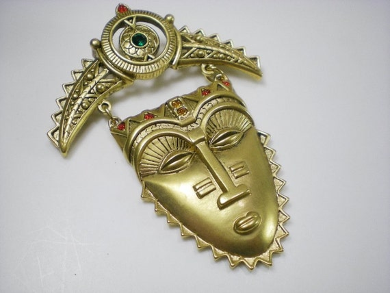 Vintage Avon Aztec Mayan Ethnic Face Mask Gold Tone by paleorama from etsy.com