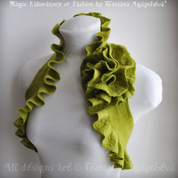 Vest Bolero Wrap Scarf 2 in 1 Pistachio Apple Green by TianaCHE