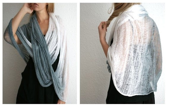 Long Shredded Circle Scarf