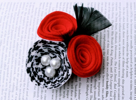 Vintage Inspired Houndstooth & Red Rosettes with Feathers and Pearls Headband/Brooch