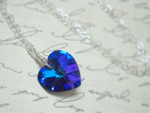 Roses are Red - Violets are Blue -  Swarovski Crystal Sterling Silver Necklace - Be My Valentine