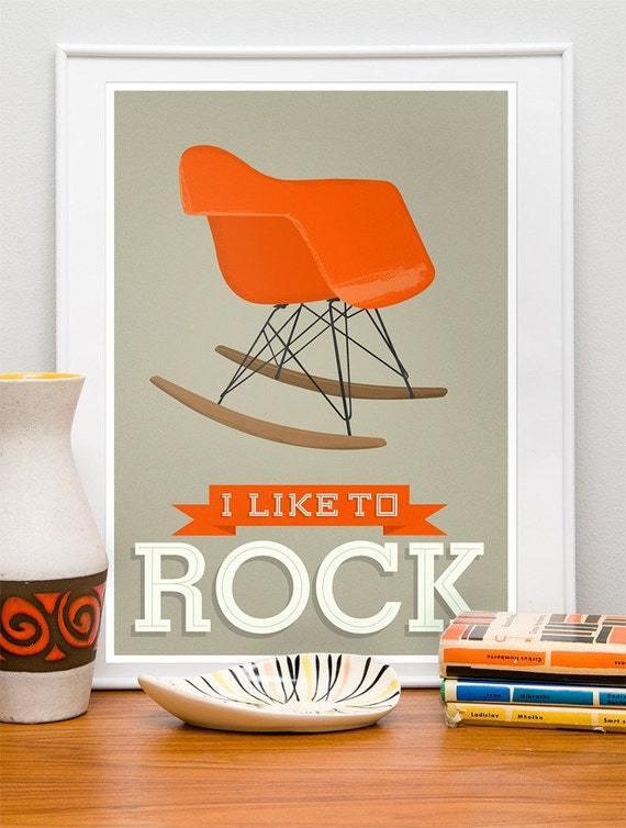 I Like to Rock - EAMES RAR  poster blue A3, 12 x 16 Vanilla