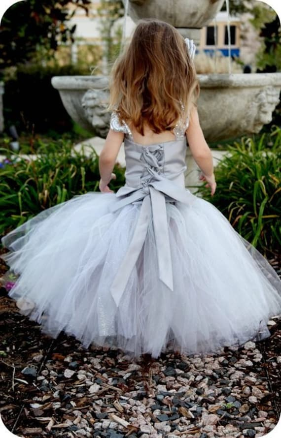 Platinum Flower Girl Tutu Dress--Skirt and Top Set--Full of Glitter--Perfect for Weddings, Portraits and Pageants