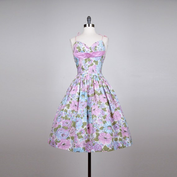 vintage 1950's party dress- FIRST BLOOMS printed cotton