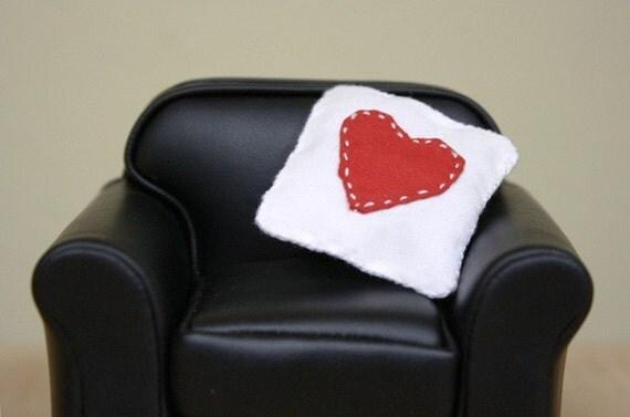 Dollhouse Miniature Heart Throw Pillow