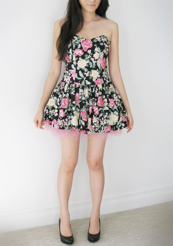 Vintage reconstructed black floral bustier mini dress.