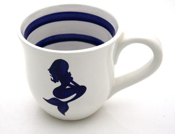 Mermaid Nautical Navy Blue and White Large Mug