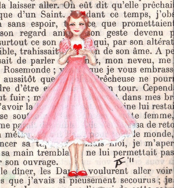 Original ACEO painting on vintage book page - Paris, 1952 - Rosemonde Holds Her Card Close And Hopes For The Best