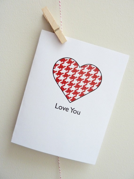 Houndstooth Heart Valentine (Red)