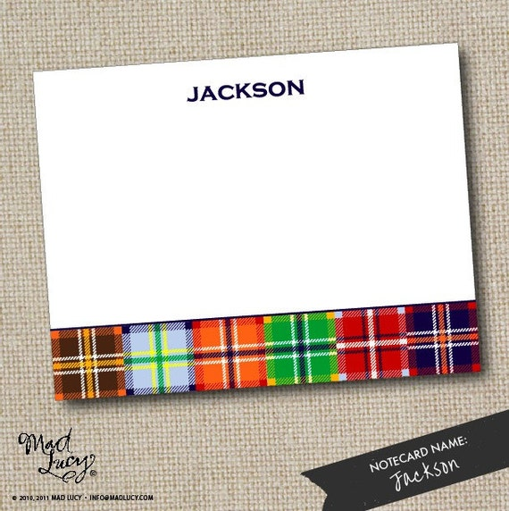 JACKSON - custom flat notecard set - MADRAS PLAID  (10 notecards & 10 envelopes)
