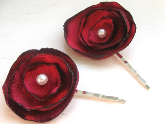 Cranberry Crush bobby pin pair