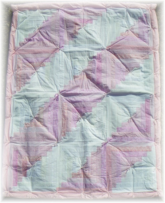 Pastel Pink and White Log Cabin Lap Quilt - Handmade with Love