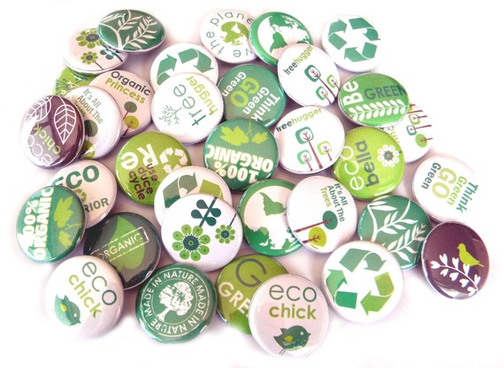 25 Eco Green Flat Back Buttons