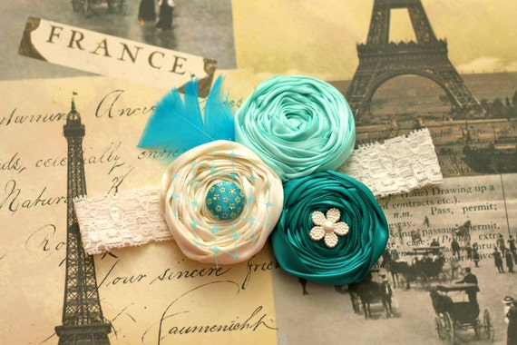 Pretty Triple Satin Rosettes with French Netting on Ivory Lace Headband. Match Matilda Jane House of Clouds collection