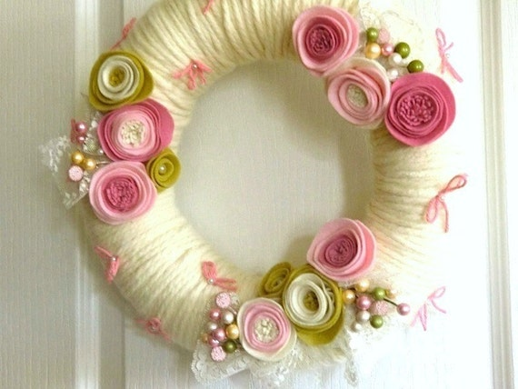 Sweetheart Pink Wreath - Roses Lace & Bows - Handmade Yarn and Felt