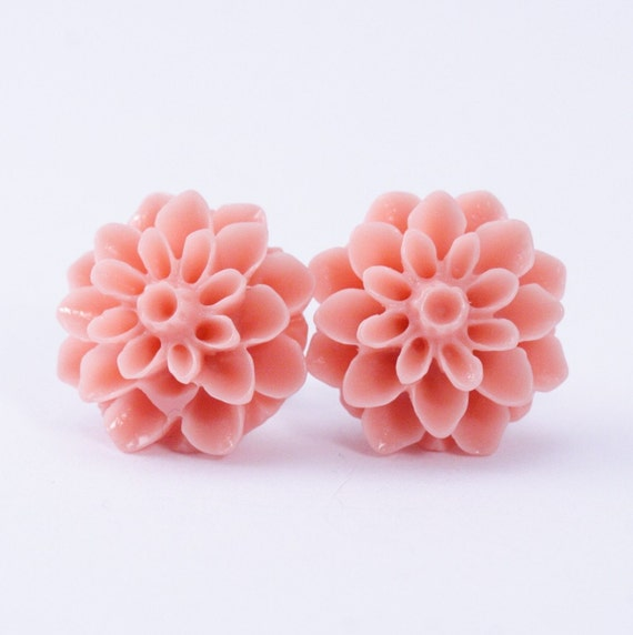 Coral Dahlia Flower Post Earrings