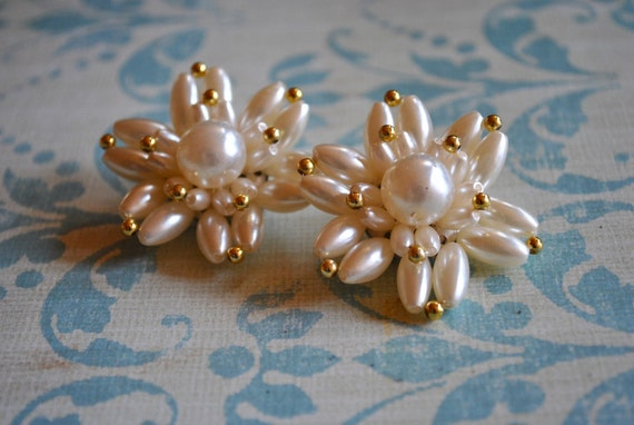 Vintage Pearl Beaded Earrings
