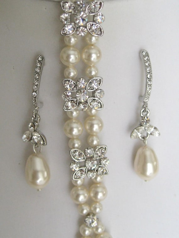 Rhinestone Bracelet and Earrings Set
