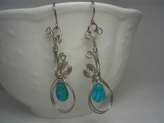 Four Swirls and Blue Drop Fashion earrings
