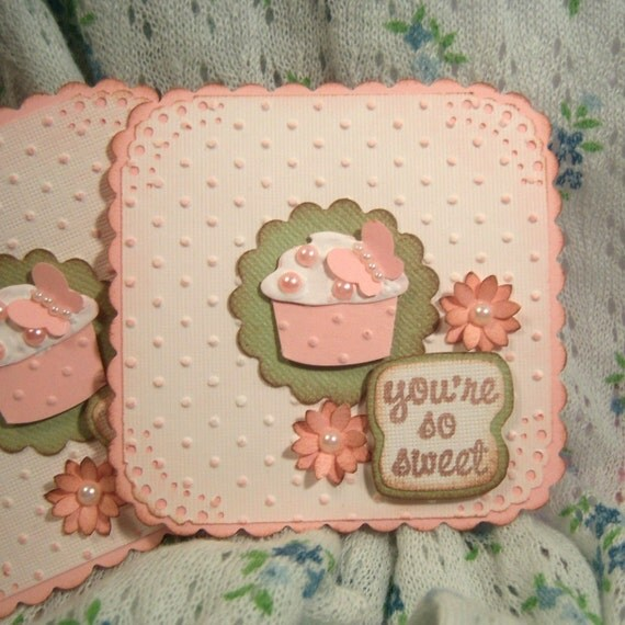 You're So Sweet Handmade Embellishment For Scrapbooking and Cardmaking Pink Paperpieced Pearls Embossed