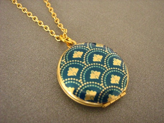 Deco Fantail Locket Necklace Blue And Gold