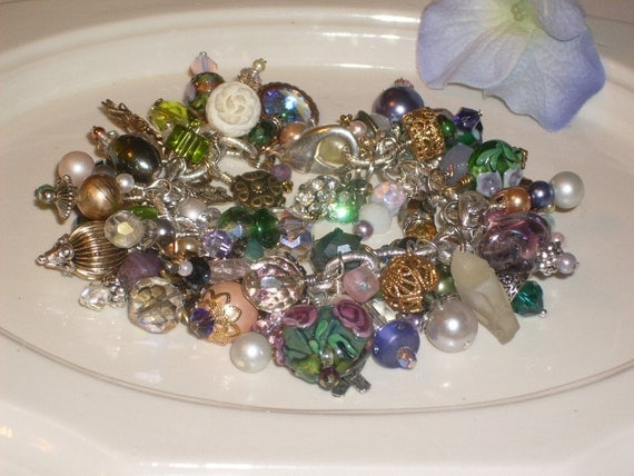 Whimsical recycled vintage findings with green purple pink beads charm bracelet Free shipping inUS