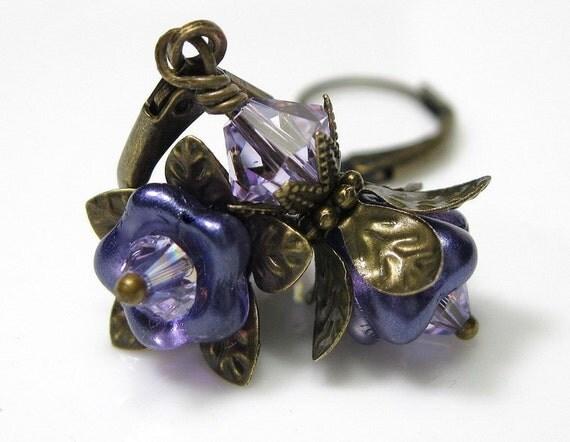 Swarovski and Brass Vintage Style Flower Earrings