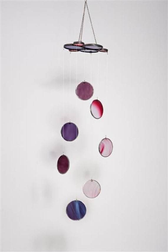Gilat glass mobile - pink and purple
