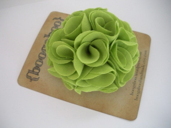 Bright green puff flower pin and alligator clip