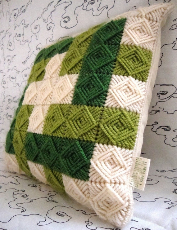 Needlepoint Handmade Pillow Cover with Olive Green Squares in Ancient Greek Pattern / Shop Early for Christmas