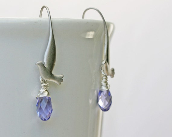 SALE Bird earrings with dove and lilac swarovski crystal briolette in silver. MOTHERS DAY