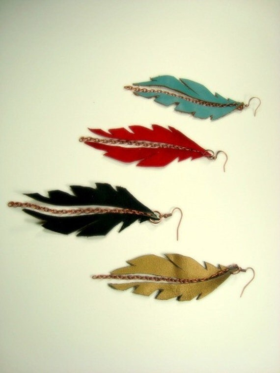 FLYING Feather Earrings - Recycled Leather, Vintage Copper Chain
