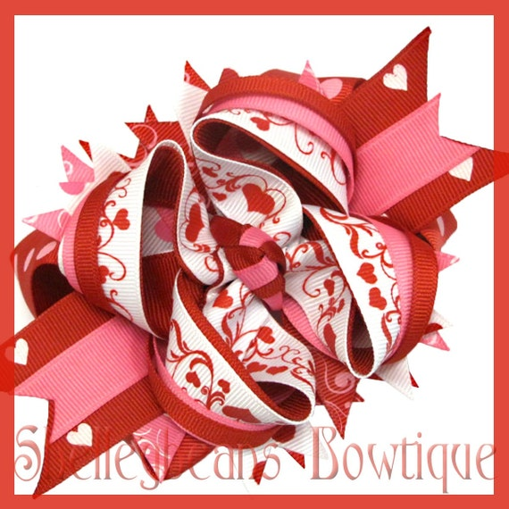RESERVED Valentines Day stacked boutique hair bow - FREE SHIPPING see shop for details