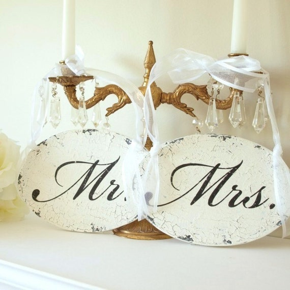 Mr Mrs Sign Featured in  BRIDES MAGAZINE Wedding Sign Shabby Chic Chair or Church Pew Hangers. Vintage Style Signs.