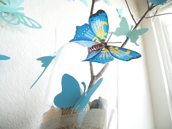 15 Assorted Multi-color Butterflies, Blue, Butterfly, Paper, Wall Decor, Hanging, Decal, 3D, Stickers, Nursery, Baby, Wedding Decor, Baby Shower, Girls Room, Cardstock, Eco-friendly Handmade by Simplychiclily Etsy