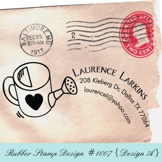WATERING Personalized (Rubber Stamp) - Return Address / Thank You / This Belongs To / Personalize with your own texts. Item 1007