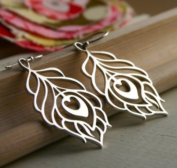 Sterling silver large peacock feather dangle earrings