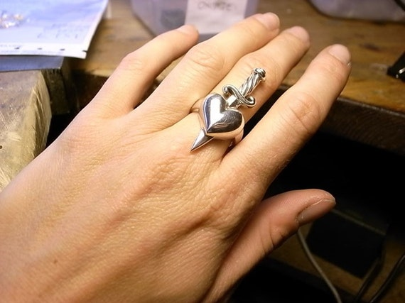 Sterling silver heart ring with dagger