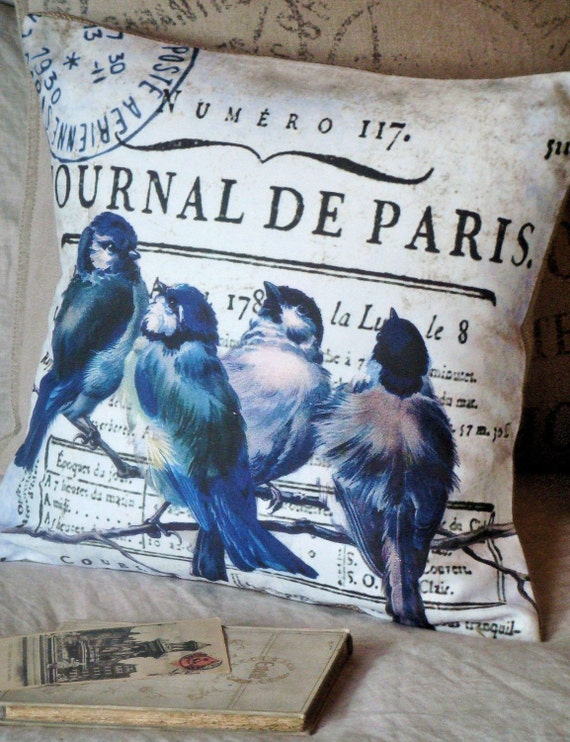 The Journal de Paris - Bluebird Cotton and Burlap Pillow Slip