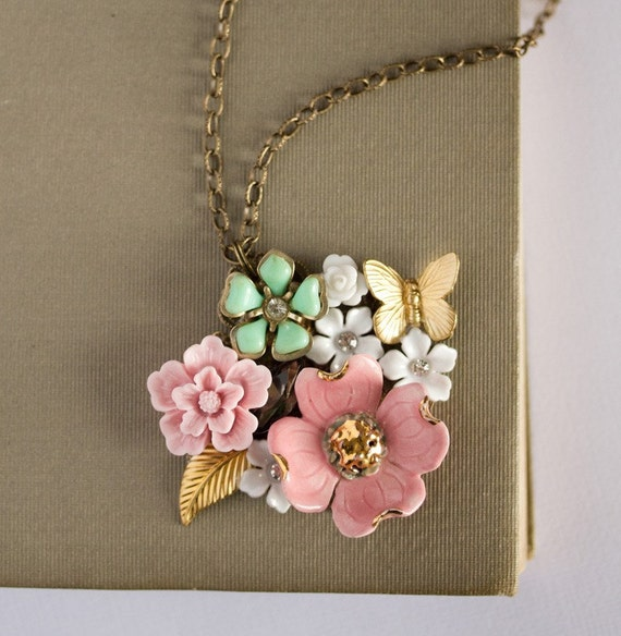 My Pastel Garden Vintage Collage Necklace