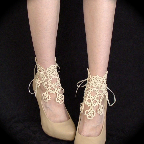 In Bloom Ankle Corsets - Tatted Lace Accessories - Ivory