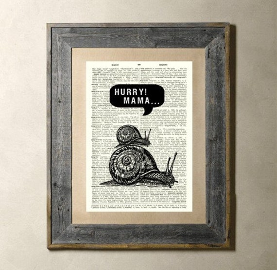 Hurry - Printed on a Vintage Dictionary Page 8X10 (Free Shipping)