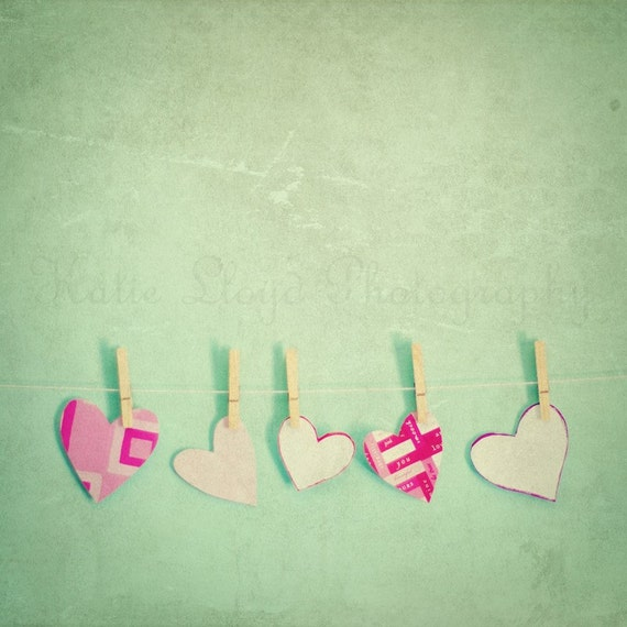 Paper Hearts on the Line - 8x8 Fine Art Photography Print - Five Feminine Pink Valentine's Nursery, Little Girl's Room and Home Decor Photo